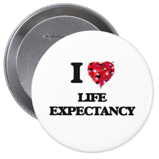 I Love Life Expectancy 4 Inch Round Button