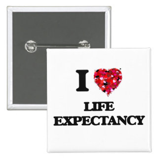 I Love Life Expectancy 2 Inch Square Button