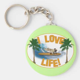 I love life - Pug Keychain