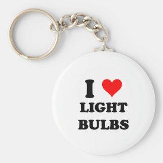 I Love Light Bulbs Basic Round Button Keychain