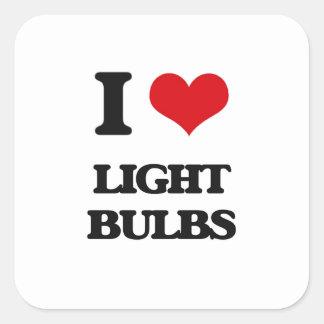 I Love Light Bulbs Square Sticker