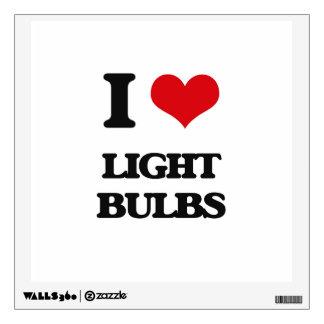 I Love Light Bulbs Wall Skins