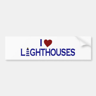 I Love Lighthouses Car Bumper Sticker