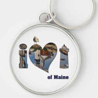 I Love Lighthouses Silver-Colored Round Keychain