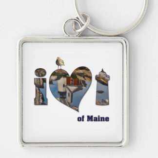 I Love Lighthouses Silver-Colored Square Keychain
