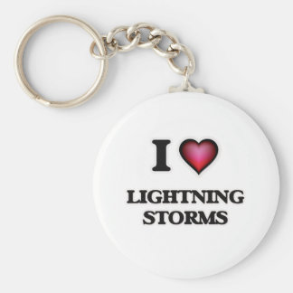 I Love Lightning Storms Keychain