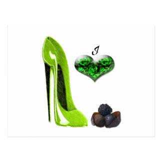 I Love Lime Green Stiletto Shoe and Chocolates Art Postcard