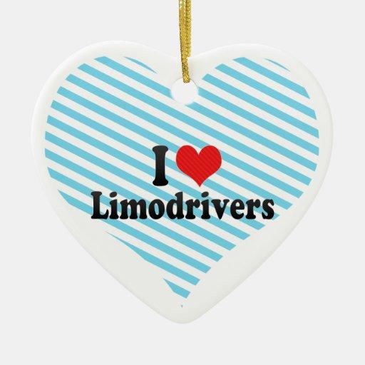I Love Limodrivers Double-Sided Heart Ceramic Christmas Ornament