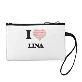 I love Lina (heart made from words) design Coin Purses
