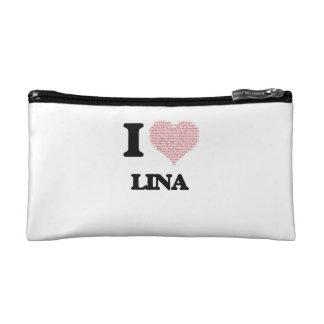 I love Lina (heart made from words) design Makeup Bag
