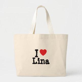 I love Lina heart T-Shirt Jumbo Tote Bag