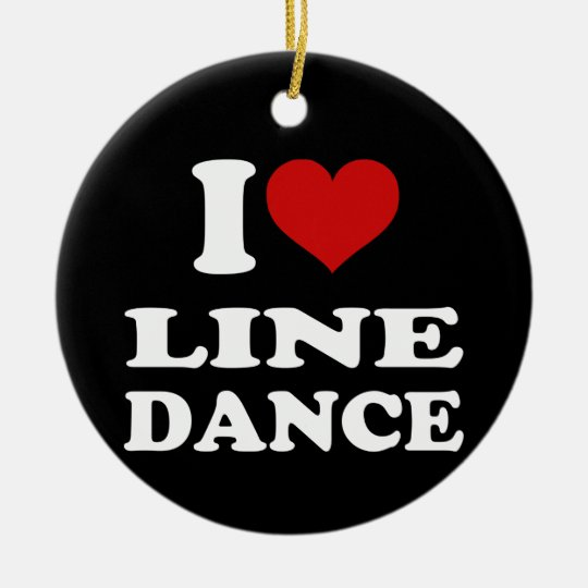 I Love Line Dance Ceramic Ornament