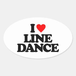 I LOVE LINE DANCE OVAL STICKER