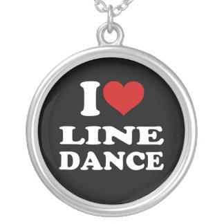 I Love Line Dance Round Pendant Necklace