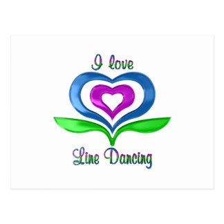 I Love Line Dancing Hearts Postcard
