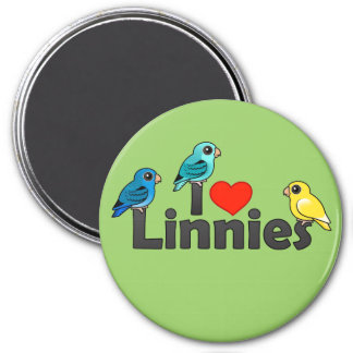I Love Linnies 3 Inch Round Magnet