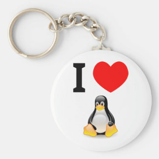 I love Linux Basic Round Button Keychain