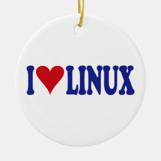 I Love Linux Ceramic Ornament