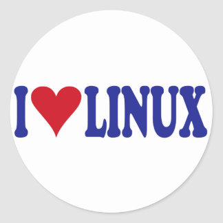 I Love Linux Classic Round Sticker