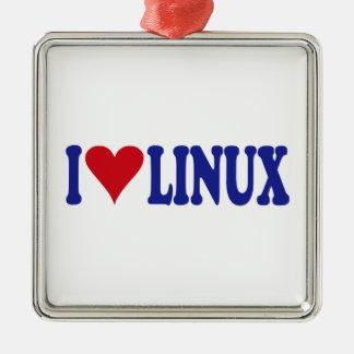 I Love Linux Metal Ornament