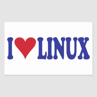 I Love Linux Rectangular Sticker