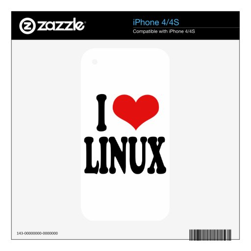 I Love Linux Skins For iPhone 4S