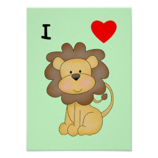 I Love Lions Poster