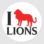 I Love Lions Round Stickers