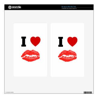 I Love Lips Kisses Kindle Fire Decal