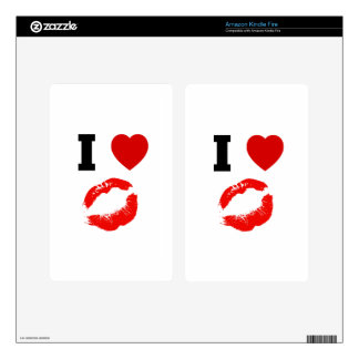 I Love Lips Kisses Kindle Fire Skin