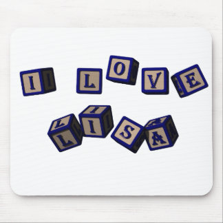 I love Lisa toy blocks in blue Mouse Pad