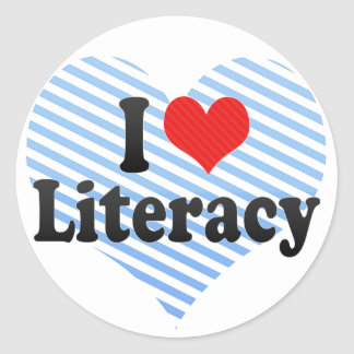 I Love Literacy Classic Round Sticker