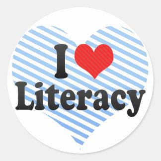 I Love Literacy Round Sticker