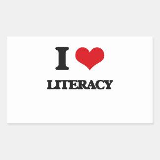 I Love Literacy Rectangular Sticker