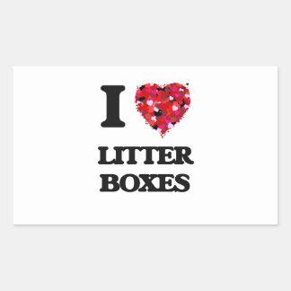 I love Litter Boxes Rectangular Sticker