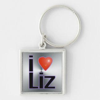 i love Liz Silver-Colored Square Keychain