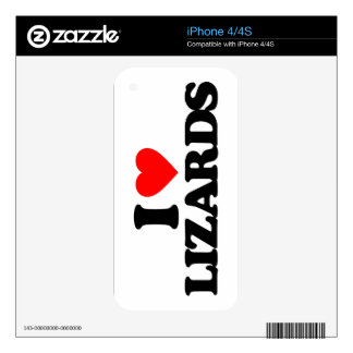 I LOVE LIZARDS iPhone 4S DECAL