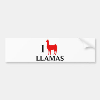 I Love Llamas Car Bumper Sticker