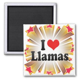 I Love Llamas 2 Inch Square Magnet