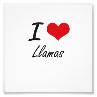I Love Llamas Photo Print