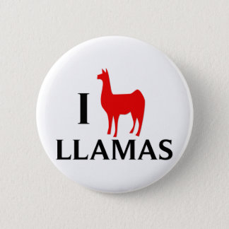 I Love Llamas Pinback Button
