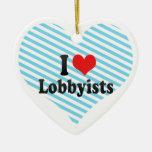 I Love Lobbyists Double-Sided Heart Ceramic Christmas Ornament