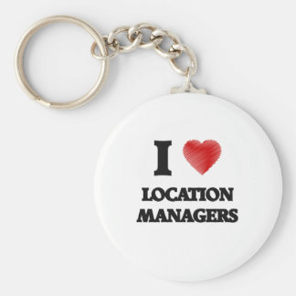 I love Location Managers (Heart made from words) Basic Round Button Keychain