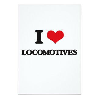 I Love Locomotives 3.5x5 Paper Invitation Card