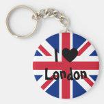 I Love London Basic Round Button Keychain