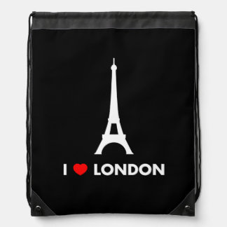 I Love London - Eiffel Tower Drawstring Backpack