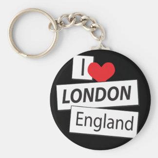 I Love London England Basic Round Button Keychain