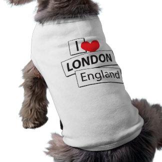 I Love London England Pet T-shirt