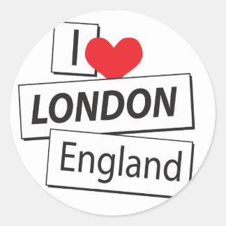I Love London England Round Stickers