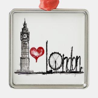 I Love London Metal Ornament